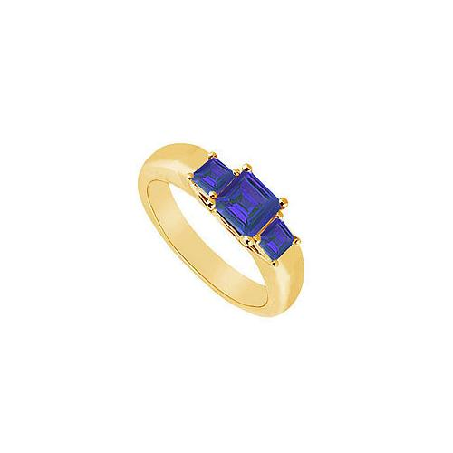 Three Stone Sapphire Ring : 14K Yellow Gold - 0.33 CT TGW