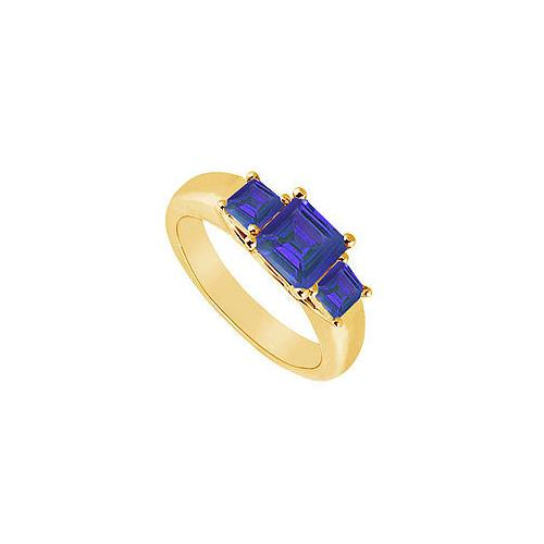 Three Stone Sapphire Ring : 14K Yellow Gold - 0.50 CT TGW