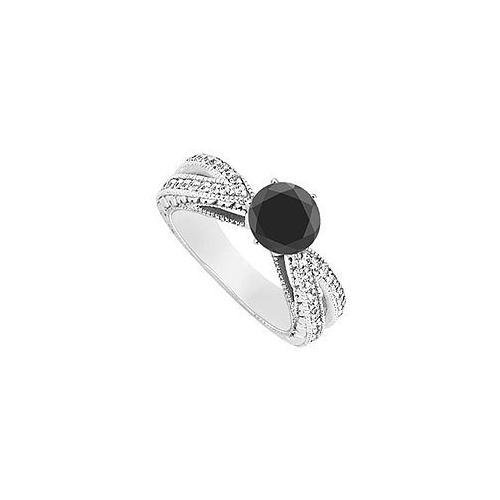 Fancy Black Diamond Ring : 14K White Gold - 1.50 CT Diamonds