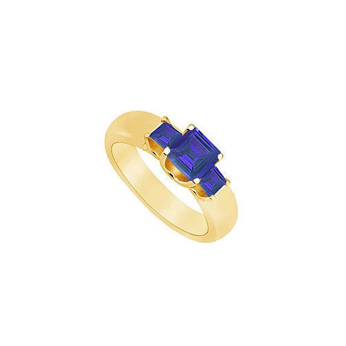 Three Stone Sapphire Ring : 14K Yellow Gold - 0.75 CT TGW