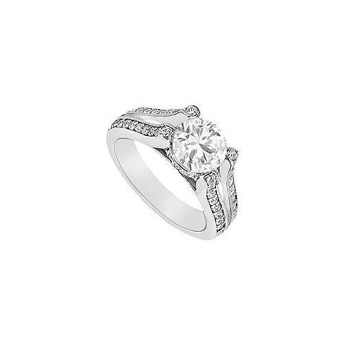 Diamond Engagement Ring : 18K White Gold - 1.00 CT Diamonds
