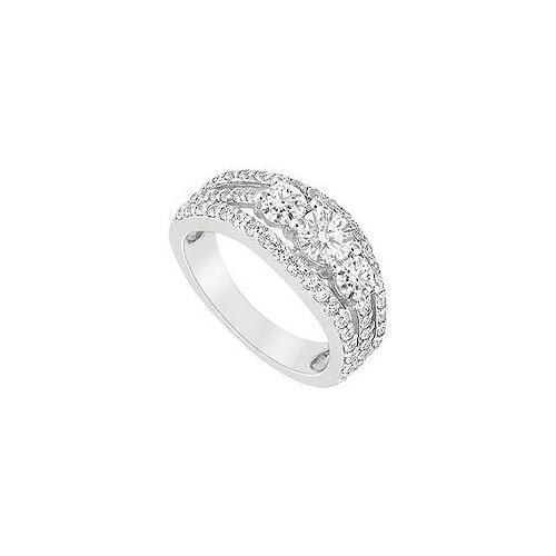 10K White Gold Cubic Zirconia Engagement Ring 2.25 CT TGW