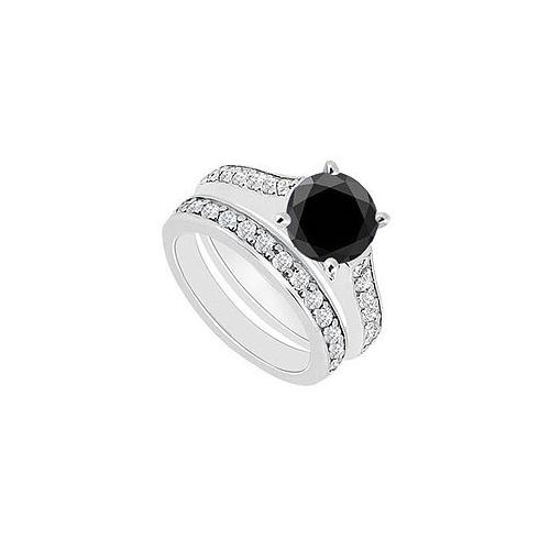 14K White Gold : Black and White Diamond Engagement Ring with Wedding Band Set 1.10 CT TDW