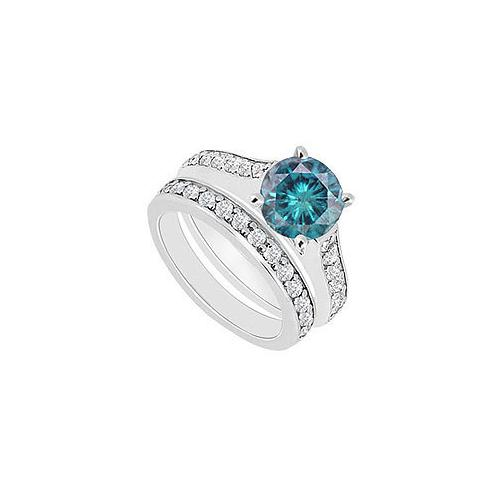 14K White Gold : Blue and White Diamond Engagement Ring with Wedding Band Set 1.10 CT TDW