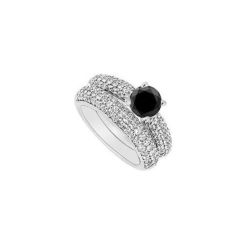 14K White Gold : Black and White Diamond Engagement Ring with Wedding Band Set 1.80 CT TDW