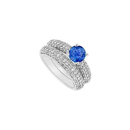 14K White Gold : Blue Sapphire and Diamond Engagement Ring with Wedding Band Set 1.80 CT TGW