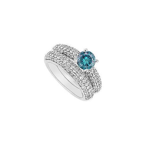 14K White Gold : Blue and White Diamond Engagement Ring with Wedding Band Set 1.80 CT TDW