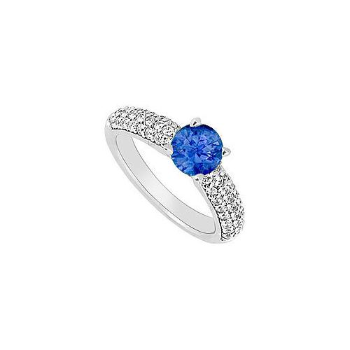 14K White Gold : Blue Sapphire and Diamond Engagement Ring 1.10 CT TGW