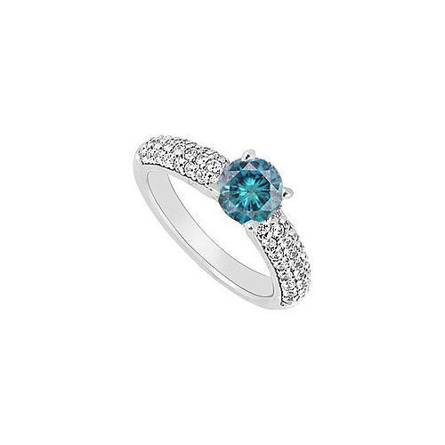 14K White Gold : Blue and White Diamond Engagement Ring 1.10 CT TDW