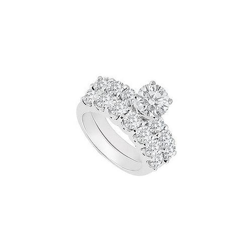 14K White Gold : Blue and White Diamond Engagement Ring with Wedding Band Set 1.15 CT TDW