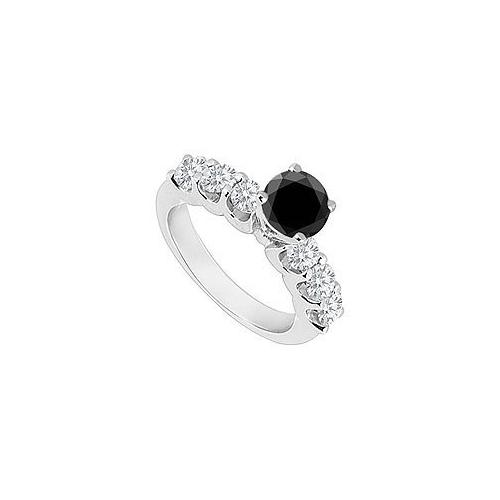 14K White Gold : Black and White Diamond Engagement Ring 0.80 CT TDW