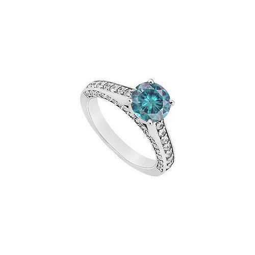 14K White Gold : Blue and White Diamond Engagement Ring 0.80 CT TDW