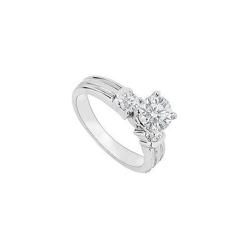 14K White Gold : Diamond Engagement Ring 0.75 CT TDW