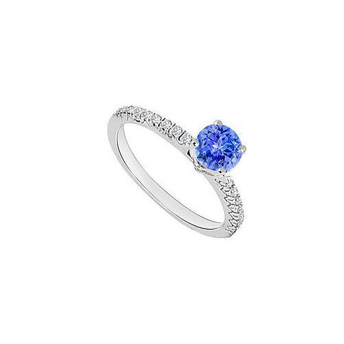 14K White Gold : Tanzanite and Diamond Engagement Ring 0.75 CT TGW
