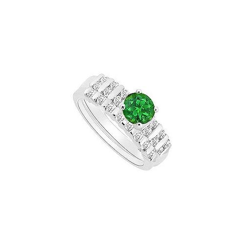 Emerald and Diamond Engagement Ring with Wedding Band Set : 14K White Gold - 0.65 CT TGW