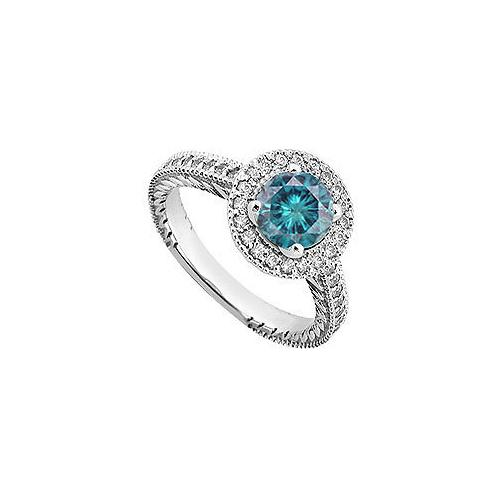 Blue & White Diamond Engagement Ring 14K White Gold  0.85 CT TDW