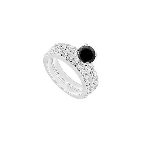 14K White Gold : Black Diamond Engagement Ring with Wedding Band Set 1.50 CT TDW