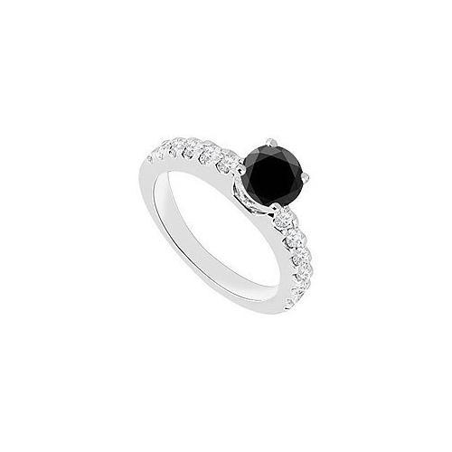 14K White Gold : Black Diamond Engagement Ring 1.00 CT TDW