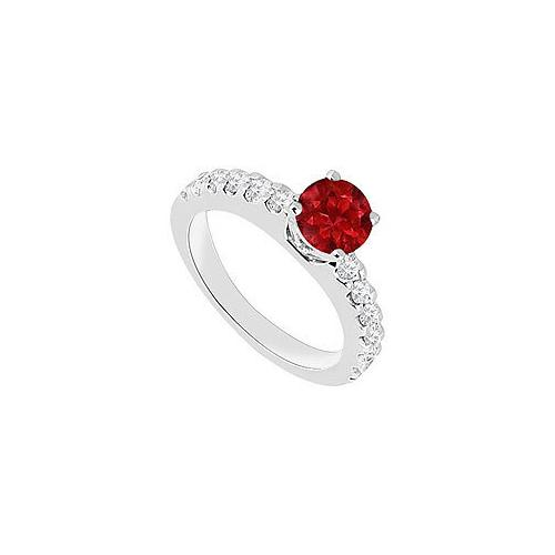 14K White Gold : Ruby and Diamond Engagement Ring 1.00 CT TGW