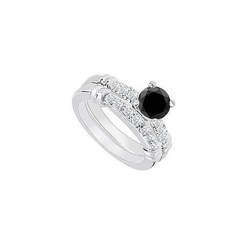 14K White Gold : Black Diamond Engagement Ring with Wedding Band Set 0.75 CT TDW