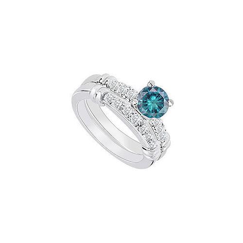 14K White Gold : Blue Diamond Engagement Ring with Wedding Band Set 0.75 CT TDW