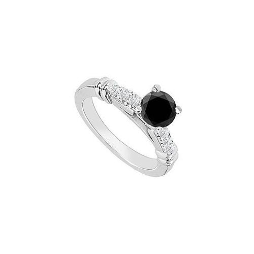 14K White Gold : Black Diamond Engagement Ring 0.60 CT TDW