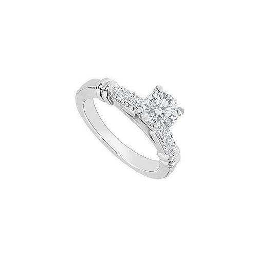 14K White Gold : Diamond Engagement Ring 0.60 CT TDW