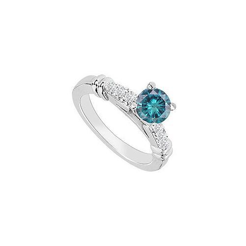 14K White Gold : Blue Diamond Engagement Ring 0.60 CT TDW