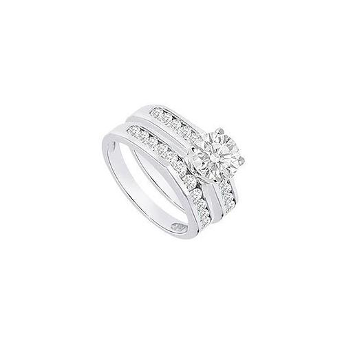 Diamond Engagement Ring with Wedding Band Sets 14K White Gold  1.15 CT TDW