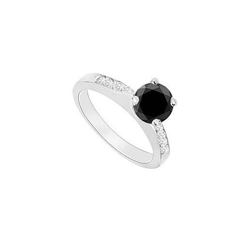 14K White Gold : Black Diamond Engagement Ring 0.75 CT TDW