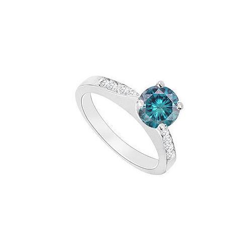 14K White Gold : Blue Diamond Engagement Ring 0.75 CT TDW