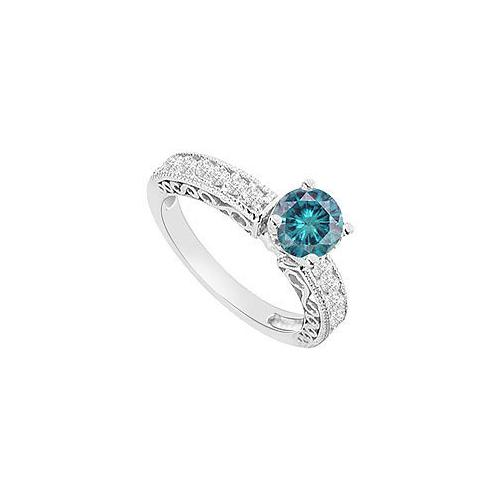 14K White Gold : Blue Diamond Engagement Ring 1.00 CT TDW