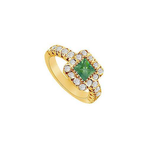 Emerald and Diamond Engagement Ring : 14K Yellow Gold - 1.25 CT TGW