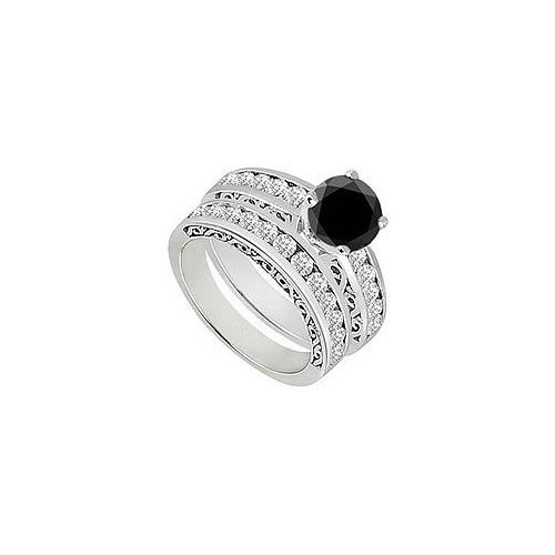Black & White Diamond Engagement Ring with Wedding Band Sets 14K White Gold  1.15 CT TDW