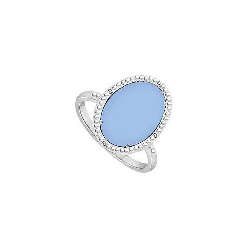 10K White Gold Aqua Chalcedony and Diamond Ring 15.08 CT TGW