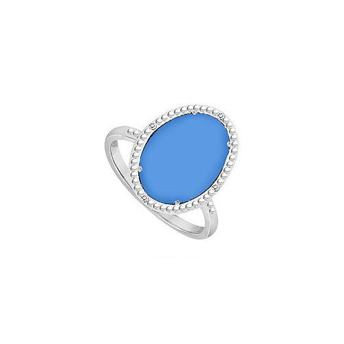 10K White Gold Blue Chalcedony and Diamond Ring 15.08 CT TGW