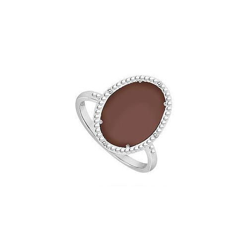 10K White Gold Chocolate Chalcedony and Diamond Ring 15.08 CT TGW