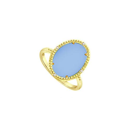 Aqua Chalcedony and Cubic Zirconia Ring in 18K Yellow Gold Overlay Sterling Silver 15.08 Carat T