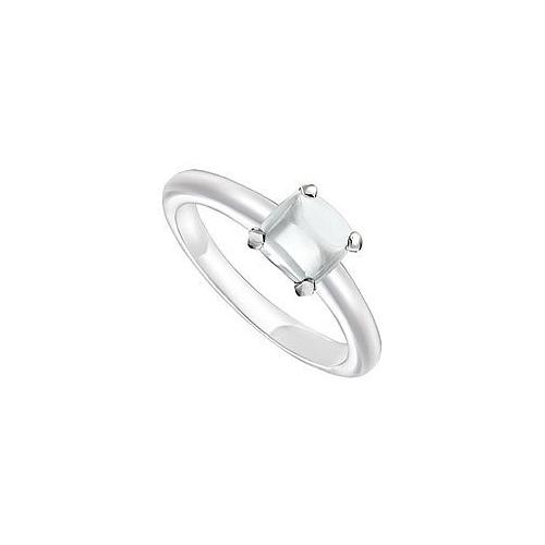 White Chalcedony Ring : 14K White Gold - 5.00 CT TGW