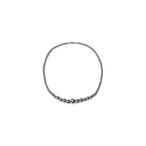 14K White Gold Graduating Bead Necklace