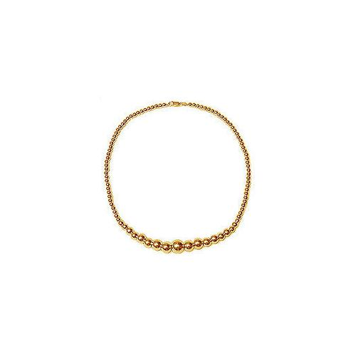 14K Yellow Gold Graduating Bead Necklace