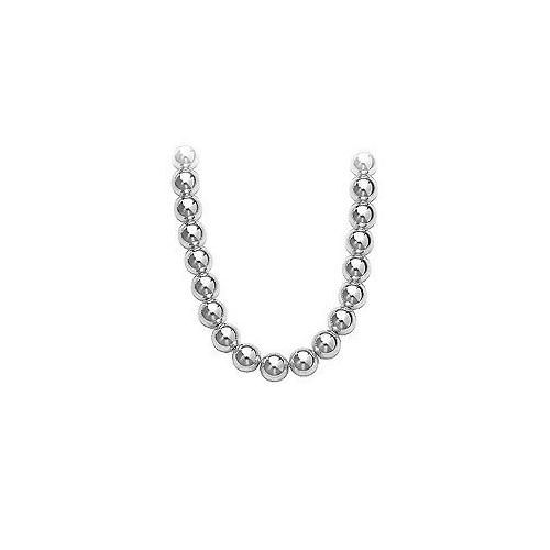 14K White Gold 10mm Bead Necklace