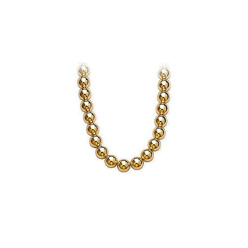 14K Yellow Gold 10mm Bead Necklace
