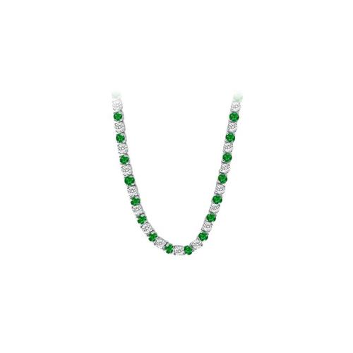 14K White Gold Emerald & Diamond Eternity Necklace 16.00 CT TGW