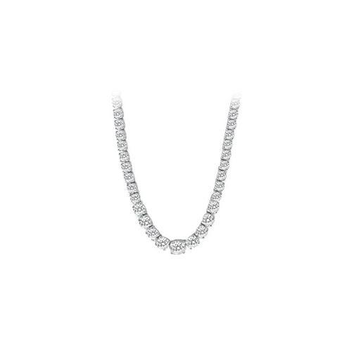 14K White Gold Diamond Eternity Necklace 17.00 CT TDW