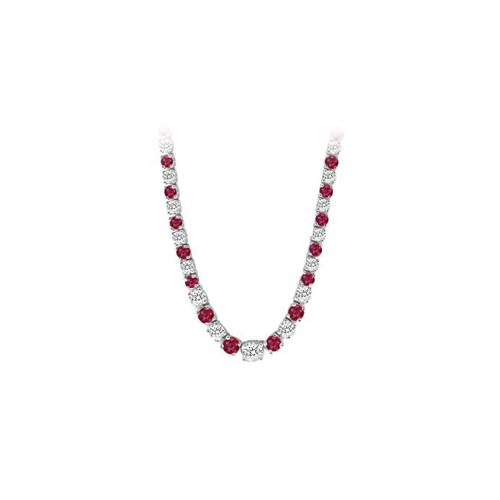 14K White Gold Ruby & Diamond Eternity Necklace 17.00 CT TGW