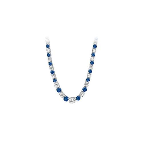 14K White Gold Sapphire & Diamond Eternity Necklace 17.00 CT TGW