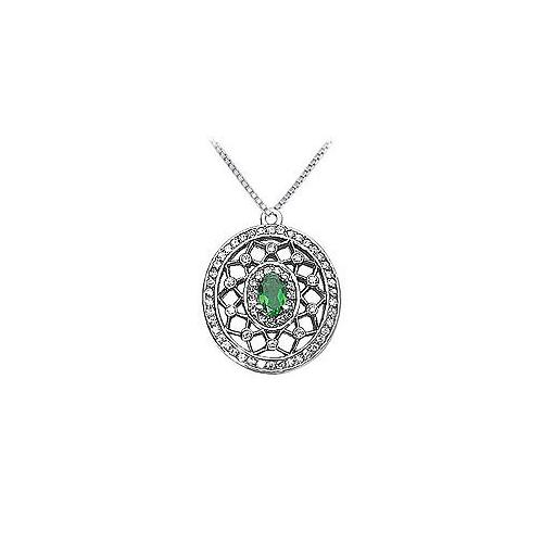 Emerald and Diamond Pendant : 14K White Gold - 1.50 CT TGW