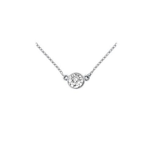 14K White Gold : Bezel Set Round Diamond Solitaire Pendant - 0.25 CT. TW.