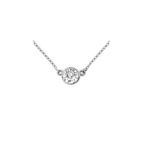 14K White Gold : Bezel Set Round Diamond Solitaire Pendant - 0.50 CT. TW.